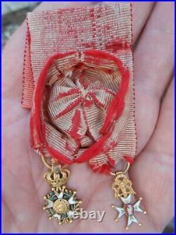 Miniatures décorations HENRY IV + Ordre SAINT LOUIS en OR /Modèle Officier