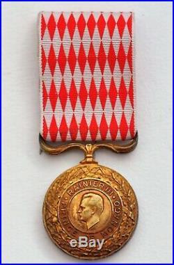 Monaco Médaille du Devoir, Rainier III, classe or, en vermeil, dans son écrin