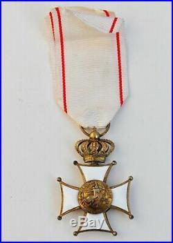 Monaco Ordre des Grimaldis, croix de chevalier en vermeil et émail