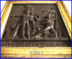 Napoléon 1er, rare tableau bas-relief bronze, époque XIXème, bataille Waterloo