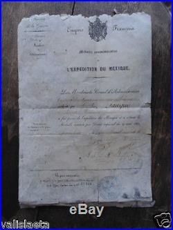 Napoleon III Diplome Medaille Expedition Mexique 1864 + Conge De Liberation 1867