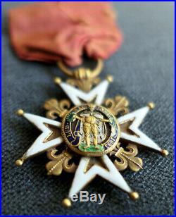 ORDRE DE SAINT LOUIS XVI Croix Chevalier OR POINÇON TÊTE DE COQ médaille insigne