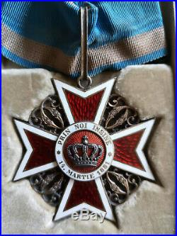 Ordre De La Couronne De Roumanie Croix De Commandeur + Écrin Médaille Orden