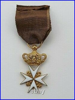 Ordre de Malte, croix de chevalier en or, restauration 1815, légèrement réduite