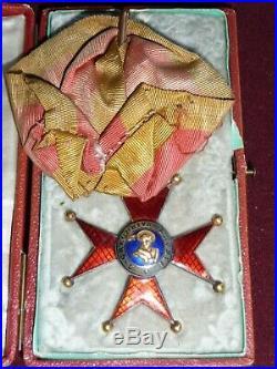 Ordre de Saint Grégoire le Grand en or avec trophées militaires en coffret