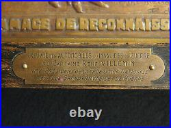 PLAQUE BRONZE MASSONET OEUVRE AUTOMOBILES CAPITAINE René VILLEMIN INVALIDE WW1