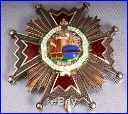 Plaque De La Grand Croix Ordre D'isabelle La Catholique En Argent Et Vermeil