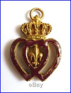 Pendentif Médaille coeur vendéen Vendée 19e siècle décoration royaliste