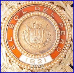 Pérou Ordre Du Soleil Fondé En 1821 Plaque De Grand Officier En Vermeil