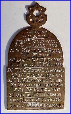 Plaque Sahara 1914-1918 en argent