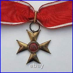 Pologne Ordre de Pologna Restituta, 1918, commandeur en bronze argenté, écrin