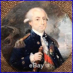 Portrait miniature dofficier de la Marine royal française signé À. N. L