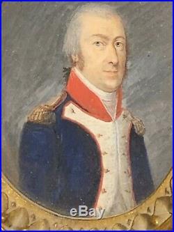 Portrait miniature dofficier sous LEmpire