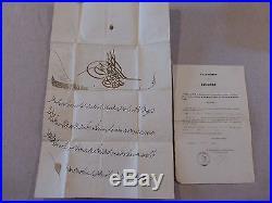 RARE! 1855 Brevet ordre impérial du Medjidie du Sultan de Constantinople
