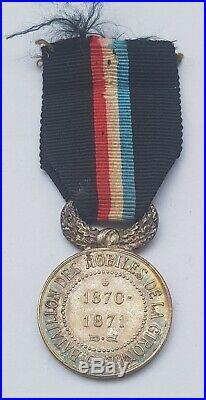 RARE Médaille commémorative du 5° Bataillon des Mobiles de la Gironde en argent