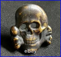 RARE! Tête De Mort De L'Officier Allemand WW2 German Visor Cap Skull WWII