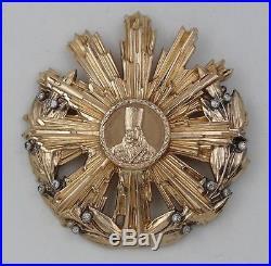 ROMANIA ORDRE ORDER OF TUDOR VLADIMIRESCU 1st CLASS RARE GOLD 18 K & DIAMONDS