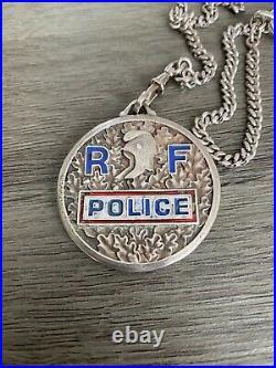 Rare Ancienne Médaille Opj Prefecture De Police Insigne Quai Des Orfevres Argent