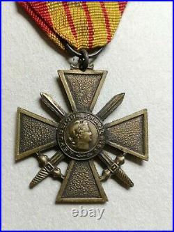 Rare Croix de Guerre modèle de pénurie dit de Londres Revers Artisanal WW2