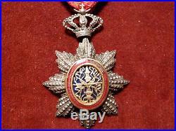 Rare Médaille Chevalier Ordre Royal Du Cambodge A Croix Sommitale / Ruban Ancien
