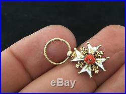 Rare Ordre de Saint Louis en Or Réduction Miniature Médaille Décoration Antique