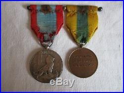 Rare barrette de Médailles WW1 de la Somme et d'Arras (signée Bouvier) 1914-1918
