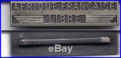 Rare barrette pour la médaille coloniale AFRIQUE FRANCAISE LIBRE