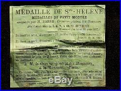 Rare ensemble Médaille de Sainte Hélène + boite + prospectus original TBE