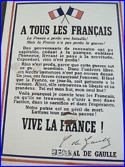 Rare et vaie plaque émaillée de 1940 APPEL A TOUS LES FRANCAIS Gal de GAULLE