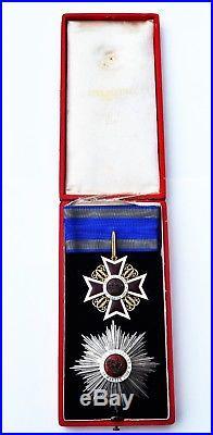 Roumanie Ordre de la Couronne, ensemble de Grand Officier, dans son écrin