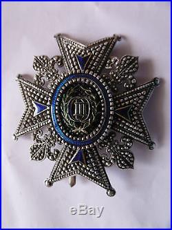 Royaume d' Espagne Plaque de Grand Officier Ordre de Charles III signée Halley