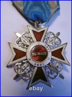 Royaume de Roumanie Chevalier Ordre de la Couronne 1er type à titre militaire