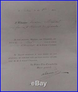 Souvenir historique Congé Absolu Légion d'Honneur 1er Empire et ordre du Lys