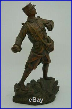 Statue Regule Militaria Lanceur De Grenades 1915 Signe Soukane Patine Bronze