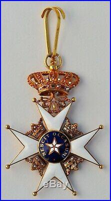 Suede Ordre de l'Etoile Polaire, croix de commandeur en or, dans son écrin
