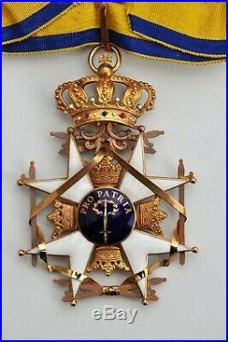 Suède Ordre de lÉpée, croix de commandeur en or