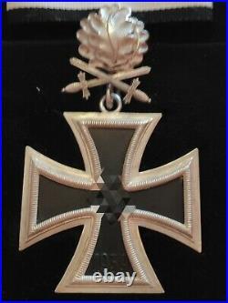 Superbe croix de Chevalier Ritterkreuz en argent avec feuilles de chêne+épées