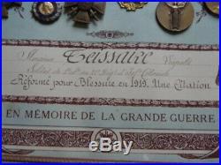 TABLEAU MEDAILLES 14-18 21ème RIC / MEDAILLE DES BLESSES 1er MODELE / MARSOUINS