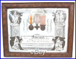 Tableau Certificat Souvenir En Memoire De La Grande Guerre + 3 Medaille 14/18