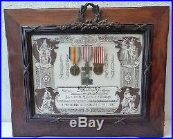 Tableau Souvenir Certificat En Memoire De La Grande Guerre +3 Medailles 14/18