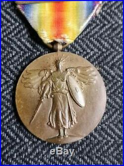 USA Médaille Interalliée 1914-1918 6 Agrafes Wwi Us Victory Medal 6 Bars